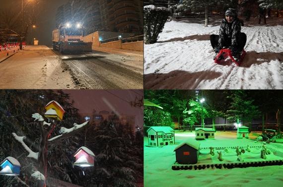 Keçiören'de belediye ekipleri yolları açtı, karın keyfini çocuklar çıkardı