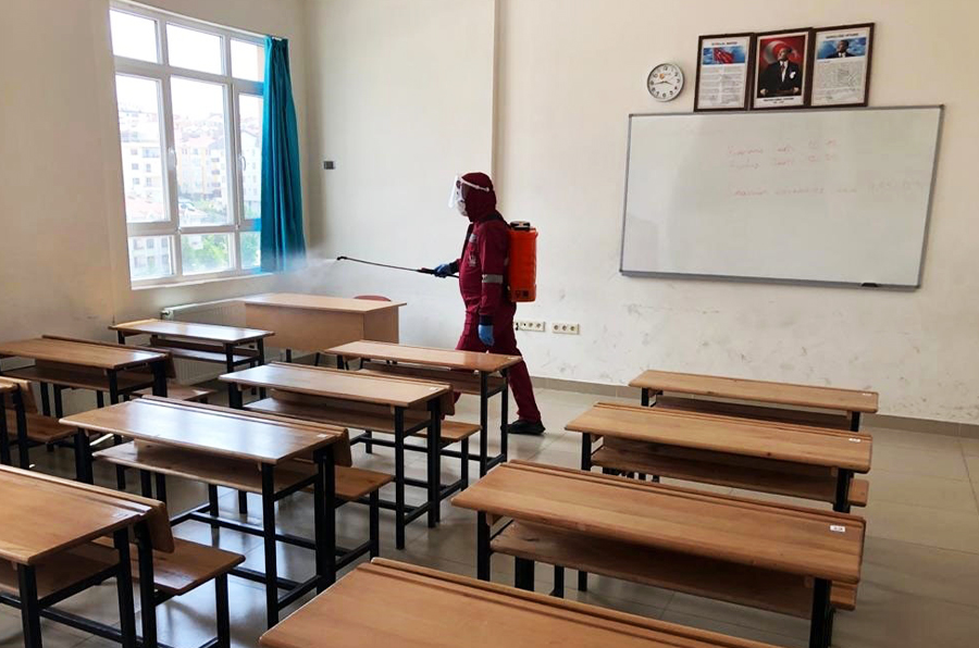 Schools are disinfected for healthy education